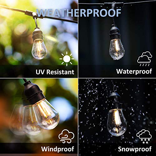 Patio Lights – Outdoor String Lights Warm White Smart String Lights 2.4GHz Wi-Fi App & Alexa Controlled, 49 Ft Extendable & Dimmable Patio Lights Outdoor, Waterproof & Shockproof Edison Bulbs String