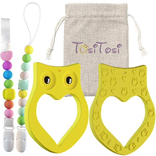 Pacifier Clip - Baby Teething Toy - 3 in 1 Set - Owl Teether Ring and 2 Binky Holders with Colorful Chew Beads - Safe BPA-Free Food-Grade Silicone - Great ()