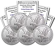 2021 Lot of (5) 1 oz Silver American Eagle (Type 2) Brilliant Uncirculated with Certificates of Authenticity b