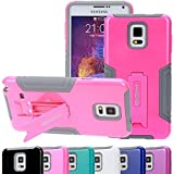 Note 4 Case, SGM (TM) Hybrid Dual Layer Protective Armor Defender Case With Kickstand For Samsung Galaxy Note 4 (Hot Pink)