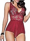 ALLureLove Sexy Lingerie Open Crotch Leotard Teddy Nightwear Lace Miniskirt Babydoll (Wine Red,XL)