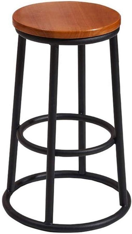 PLLP Sillas de comedor, taburetes, cena la silla principal de metal con asiento de madera Loft Hierro forjado restaurante Retro Cafe Taburete alto,A,75cm