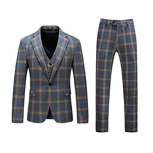 Mens Plaid Tweed 3 Piece Suit Slim Fit One Button Dinner Suit Tuxedo,Green,X-Large