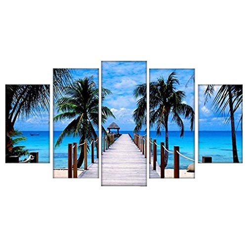 Shan-S 5 Piece Canvas Painting Modern Wall Sticker Removable Paintings for Living Room Wall Art 3D Beach Lilies Flowers Landscape Pictures Wallpaper Modular HD Prints Poster Mural Home Decor (Fillers Vase 15 Creative)