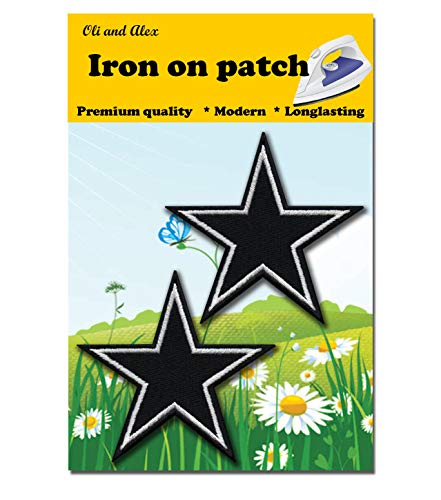 Iron On Patches - Black Star Patch 2 pcs Iron On Patch Embroidered Applique Star Logo 3