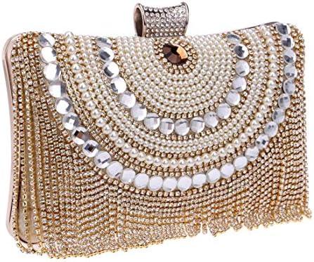ウィメンズダイヤモンドディナーバンケットクラッチバッグ、財布、ハンドバッグ、(カラー:ゴールド)ハンドメイド、スーパーフラッシュ 美しいファッション