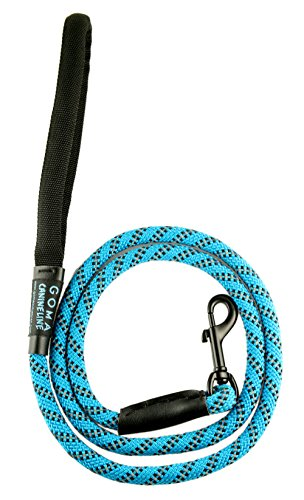 Best Soft reflective Dog training Leash- Chew resistant 4ft. bright nylon increased safety for night walking - for Medium and Large breeds - ergonomic anti slip grip - mountain climbing rope made (Bed Small Black Check)