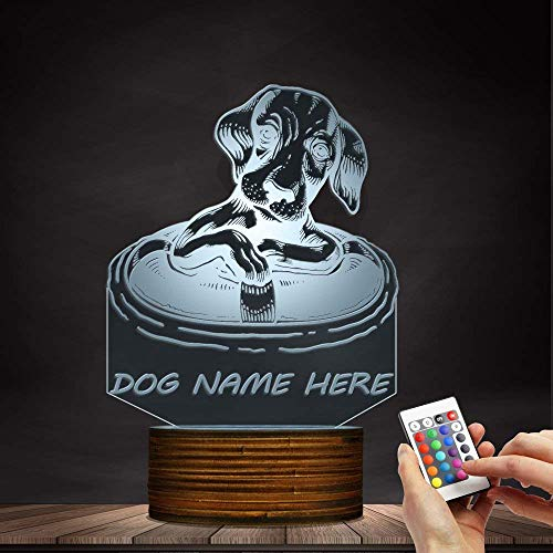 Novelty Lamp, Dachshund Dog with A Life Buoy 3D Night Light, Creative Table Lamp LED Illuminated Display with Remote Contolled Pet Lovers Gift Idea,Ambient Light by LIX-XYD (Image #1)