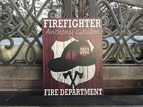 Personalized Firefighter Canvas HOUSE RULES Custom Plaque, Fireman, Firehouse, FIRE Department EMS, Volunteer Firefighter, FIVE Sizes Awesome Valentine Gift Idea