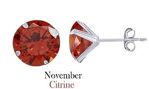 10k White Gold 3mm Round November Citrine Birthstone Stud Earrings
