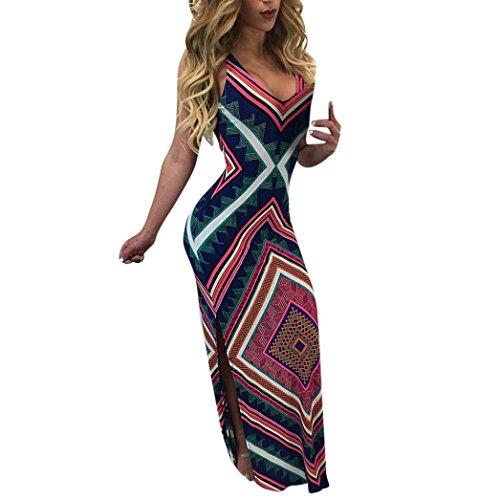 (haoricu Women Dress, New Summer Women Sexy Bra Bodycon Slim Sleeveless Evening Party Dress (L, Multicolor))