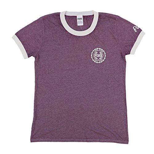 - Victoria's Secret Pink Short Sleeve Crew Neck T-Shirt (L, Heather Purple Ringer)