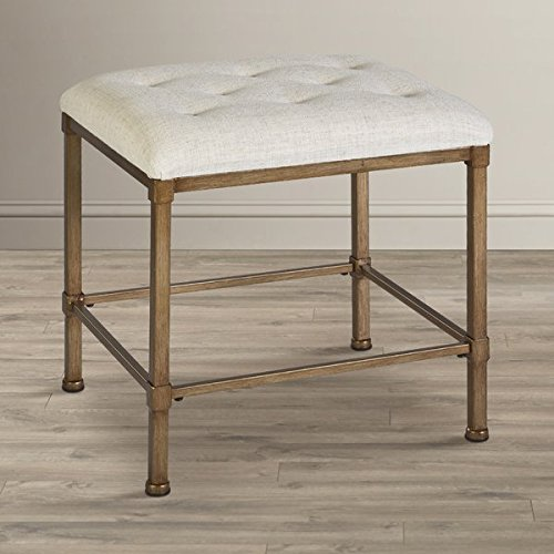 Backless Vanity Stool Cushion is Accented in an Oatmeal-hued Fabric Metal Construction Golden Bronze Finish Upholstery Color is Cream by eCom Fortune