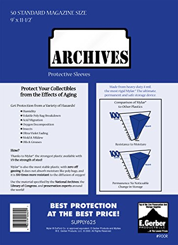 "Archives Standard Magazine 4-Mil Thick Comic Mylar Sleeves 9"" x 11-1/2"" Plus Two 7/8"" Non-Foldable Flaps"