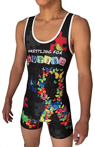 TRI-TITANS WRESTLING FOR AUTISM Wrestling Singlet Folktyle Mens & Youths (Adult XL: - Custom Singlet Sublimated Wrestling