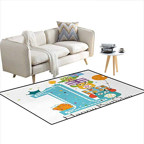- Carpet,First Cake with Candle Owls Family with Box Party Theme Print,Customize Rug Pad,Sky Blue Orange and GreenSize:48