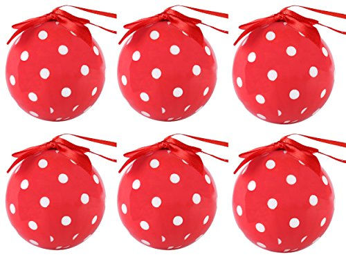 Cue Cue Festive Ready to Hang 24 Peice Red with White Polka Dots Ornament Set by Cue Cue (Image #1)