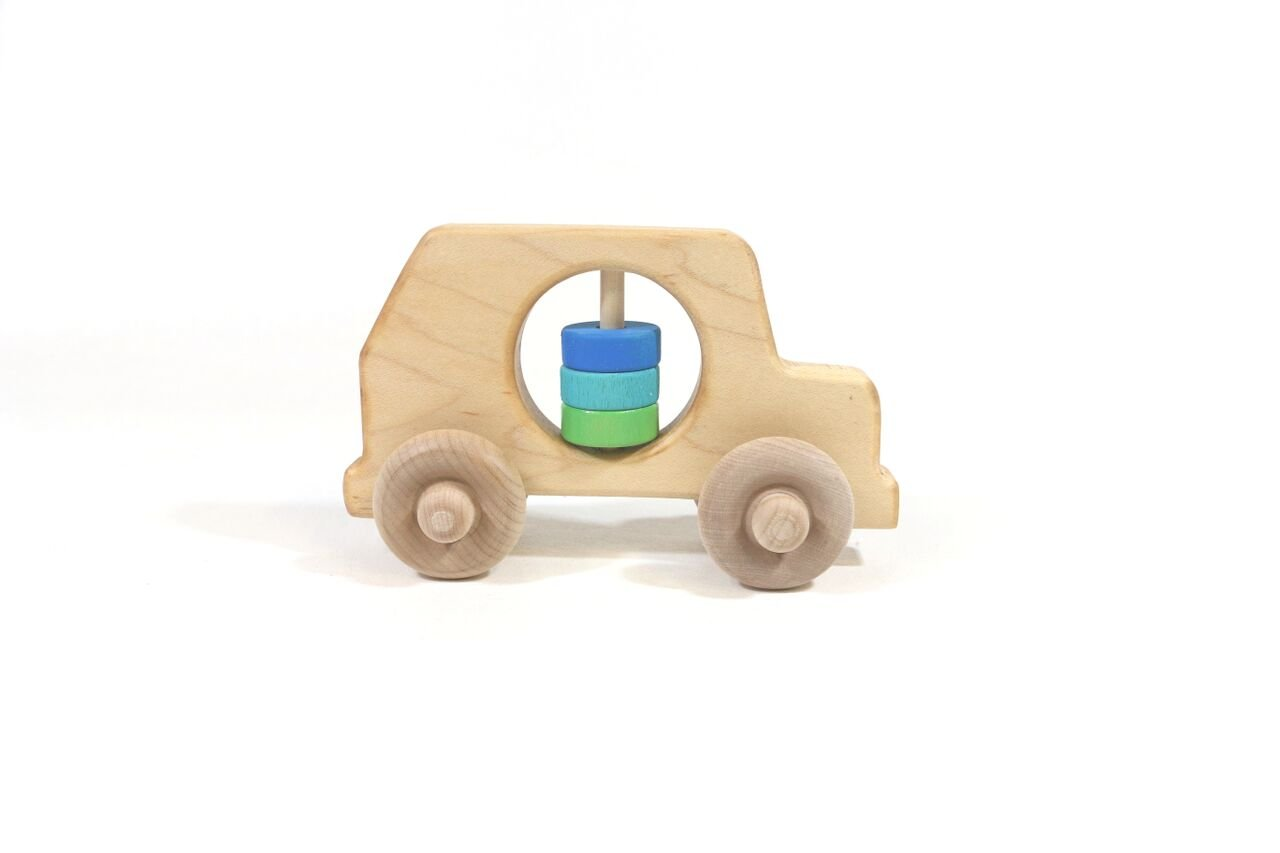 Rattle & Roll SUV Wooden Baby Rattle