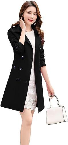 Womens Lapel Collar Faux Suede Belt Slim Fit Long Trench Coat Outwear Jacket Hot