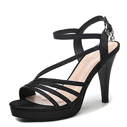 Verano Primavera Y Alto Negro Tacón De Mujeres Novedad Eu39 Noche cn39 Negro Boda Para uk6 color Sandalias Pu Mujer Haizhen Zapatos Tamaño Confort OvfxqTXwY