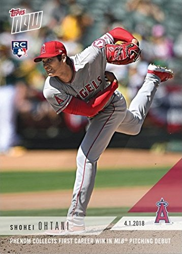 - 2018 Topps Now Baseball #23 Shohei Ohtani Rookie Card - Earns 1st Career Win in MLB Pitching Debut - English Edition