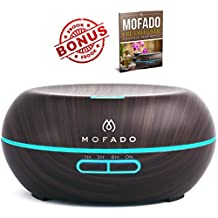 #1 Essential Oil Diffuser - MOFADO ® 200ml Ultrasonic Aromatherapy Humidifier with Diffuser - Dark Faux Wood - Silent Cool Mist - 7 LED Mood Lights - Auto Shut Off - Moneyback Guarantee