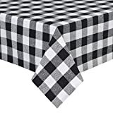 country kitchen tablecloths VEEYOO 60 x 102 inch (152 x 259 cm) Rectangular 100% Cotton Plaid Tablecloth Gingham for Home Kitchen Outdoor Use, Black & White Buffalo Check