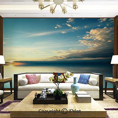 - Mural Wall Art Photo Decor Wall Mural for Living Room or Bedroom,Panorama of Sea Sunset Sundown Reflection Horizon Dark Clouds Nature Picture Print,Home Decor - 100x144 inches