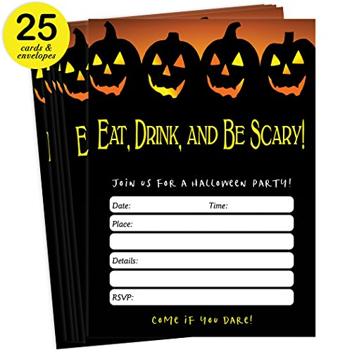 Spooky Halloween Party Invites & Envelopes ( Pack of 25 ) Eat Drink & Be Scary Adult Child Party Large Blank 5x7