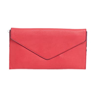 b54176c445e LS Ladies Envelope Clutch Bag with Wrist Strap and Long Strap Thin Sling  Messenger Grab Bag (Rose): Amazon.co.uk: Shoes & Bags