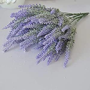 Easy Nature Artificial Lavender Flower with Flocking Plant Bouquet for Wedding,Home Decor 50