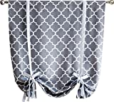 HLC.ME Lattice Print Thermal Room Darkening Blackout Tie Up Balloon Shade Curtain for Small Windows - Grey - 46'' W x 63'' L