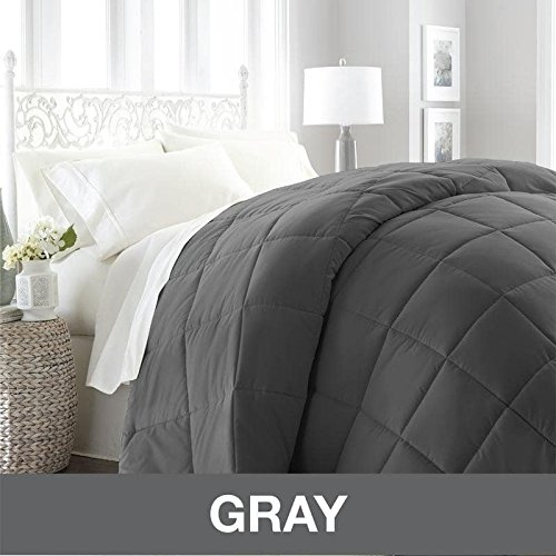 1 Piece Dark Grey Baffle Box Stitched Down Alternative Comforter King/Cal King Size, Stylish Modern Luxury Soft Cozy Lightweight Reversible Bedding Charcoal Gray Solid Color Square Design, Microfiber