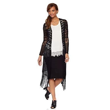 Daisy Fuentes Crochet Maxi Cardigan Fringe 543-835 at Amazon ...