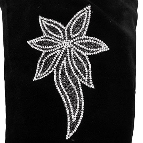 AllhqFashion Mujeres Sólido Cuña Sin cordones Puntera Redonda Botas con Diamante Negro
