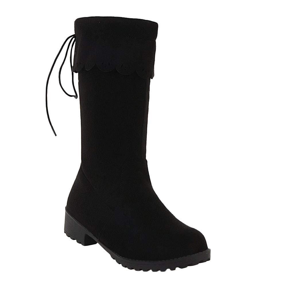 Women's Pull On Mid-Calf Low-Heel Black Boot - DeluxeAdultCostumes.com