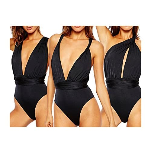 Choco Mocha Black One Piece Swimsuit Plunge V Neck Swimsuits for Women (Multiway) L