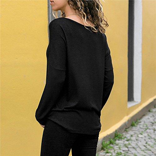 T Top Lunga Block Donna Shirt Casual Lunghe Camicetta Autunno O Manica Patchwork Elegante a Mecohe a Nero Blouse Collo Colore Maniche 7ABzHFB1