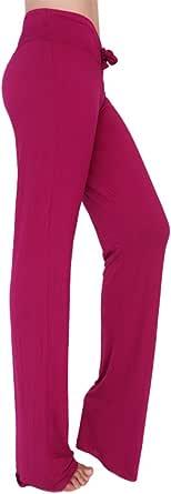 KINDOYO Ladies Trousers Casual Straight Leg Pilates Pants with Drawstring,Women Yoga Pants for Workout Joggers (Crimson,UK XL = Tag 2XL)