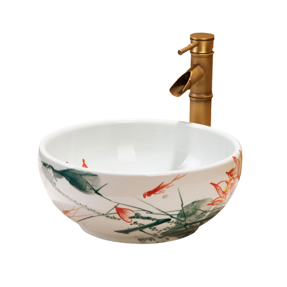 Bathtub ZI LING SHOP- Ceramic Round Hand-painted Mini Stage Wash Basin Bathroom Balcony Art Basin 35cm Wash Basin
