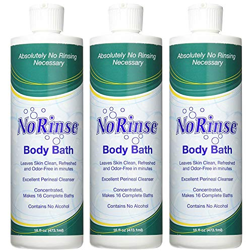 Non Foaming Bath - No-Rinse Body Bath, 16 fl oz - Leaves Skin Clean, Refreshed and Odor-Free (Pack of 3) - Makes 16 Complete Baths