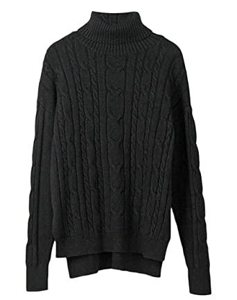 6e634305bae pipigo Womens Casual Cable Knit High-Low Turtleneck Pullover ...