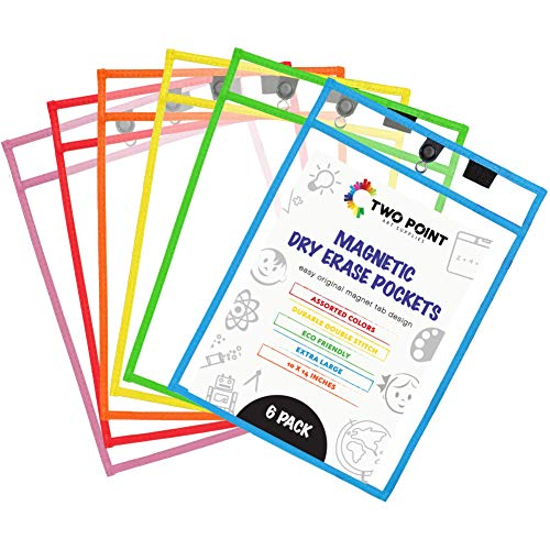 Magnetic Dry Erase Pocket Sleeves (6-Pack) by Two Point - Oversize 10 x 14 in - Classroom Organization, Home, Office, Reusable, Job Shop Ticket Holder - Clear Folder Sleeves (Assorted Colors)