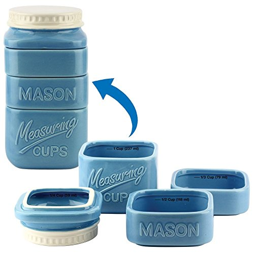 Mason Jar Stack Measuring Cups Set Dolomite Blue Country Kitchen Decor Gift Idea