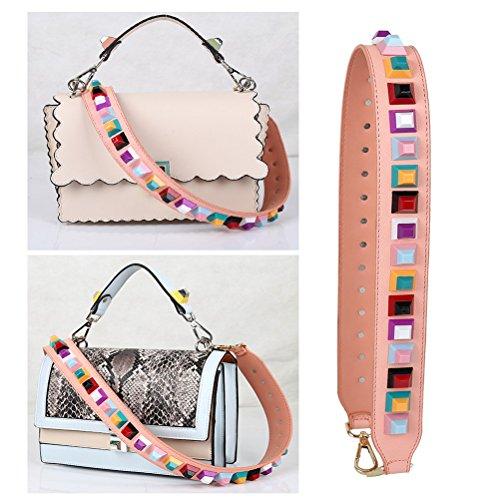 multicolore main en de à remplacement Umily Schwarz bandoulière Wide filles Rosa bracelet 90 sacs sangle à sac main Femmes cm pour cuir fPXqg