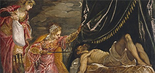 tintoretto-jacopo-robusti-judith-and-holofernes-ca-1555-oil-painting-10-x-21-inch-25-x-54-cm-printed