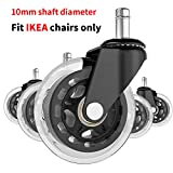 "10mm Office Chair Caster Wheels - Fit for IKEA Only Set of 5 Suitable for All Floors Including Hardwood, 3"" Perfect Replacement,Shaft Diameter:0.39"",Color: Black/Translucent, Model: CW-005."