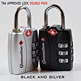 TSA Approved & Accepted Combination Lock 2-Pack by Generation 5 - Best Travel Suitcase Luggage Locks - 3 Digit, Set Your Own Combination Padlocks With Open Alert - Portable & Resettable - Black, Silver
