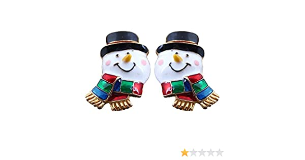 c9e452767ae4f Enamel Scarf Snowman Clip on Earrings No Pierced Gold Plated Dangle for  Girls Women