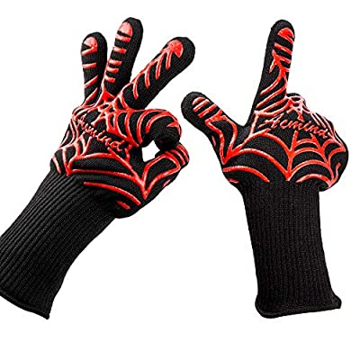 "Acmind BBQ Grill Gloves, 932°F Heat Resistant Grilling Gloves, Barbecue Gloves for Smoker, 13"" Extremely Cooking Oven Mitts, 1 Pair, Red Silicone Insulated from Acmind Co,.Ltd"